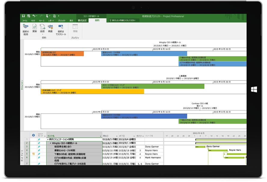 Project Professional でプロジェクトのタイムラインとガント チャートを含む Project ファイルが表示された Microsoft Surface タブレット画面