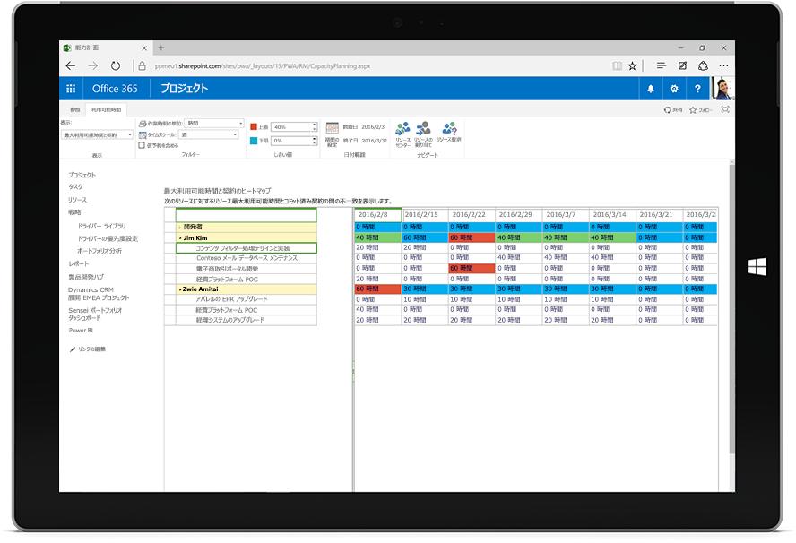 Office 365 で Microsoft Project の最大利用可能時間と契約のヒート マップが表示されたタブレット画面
