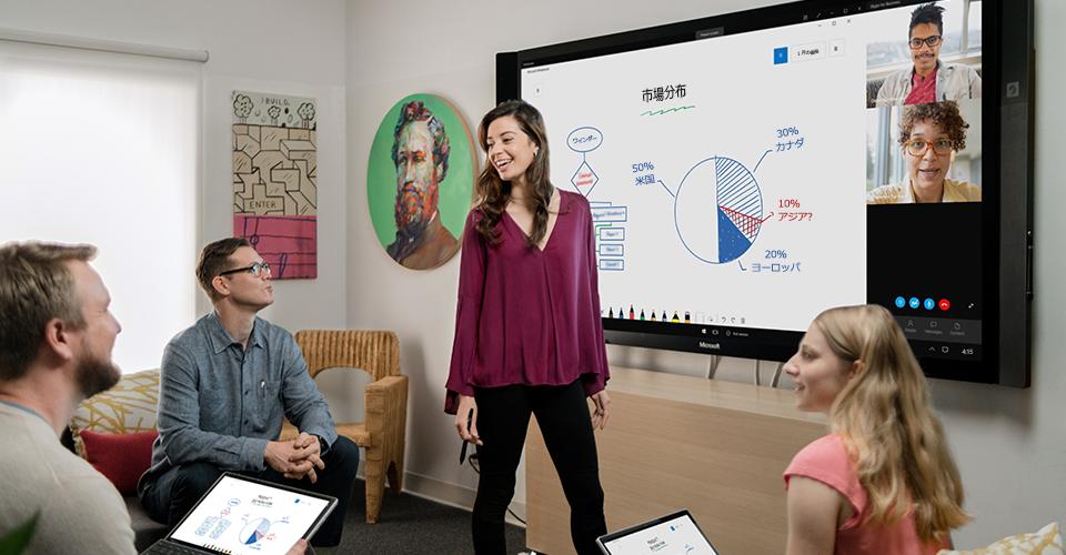 Microsoft Whiteboard に描かれた椅子の図。キャスターと椅子の寸法を示しています。