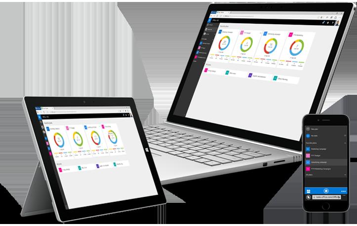 チームの作業を整理するための Microsoft Planner が表示されているタブレット、デスクトップ PC、スマートフォン。