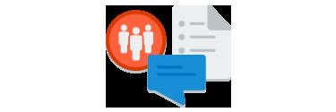 ファイルとメッセージング バブルを示すアイコンで、「課題の作成と共有を新しい方法で」を表す