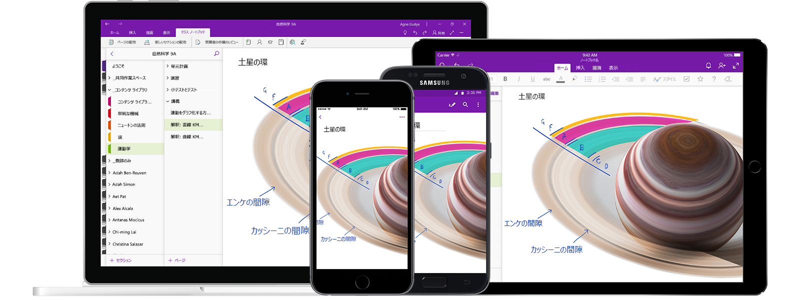 自然科学 9A というタイトルの OneNote ノートブックが 2 台のスマートフォンと 2 台のタブレット コンピューターに表示され、線グラフの授業を示しています