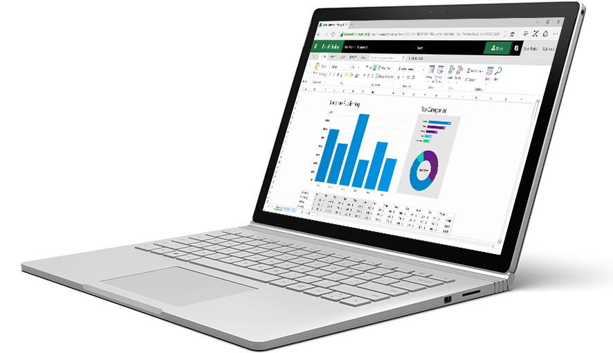 Excel Online でカラフルなチャートとグラフが表示されたラップトップ。