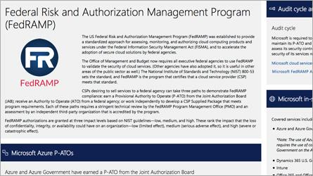 FISMA および FedRAMP の情報が表示されている Microsoft Trust Center のページ。FISMA および FedRAMP についてよく寄せられる質問を読みます。