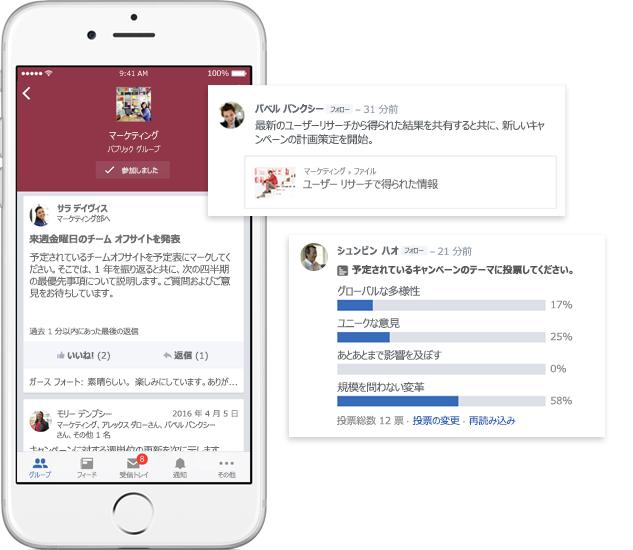 Yammer グループの会話、投票、ファイル共有が表示された携帯電話