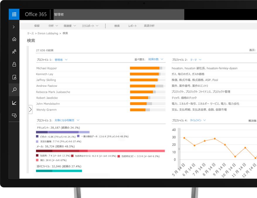 Office 365 の電子情報開示を表示したノート PC