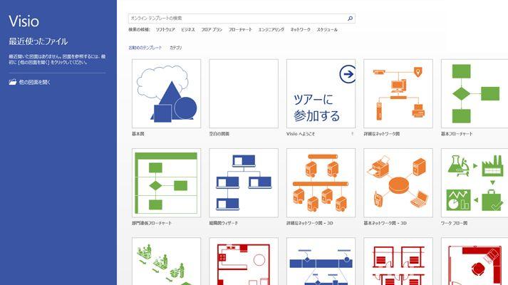 最近使用したファイルとお勧めの Visio テンプレートを表示した Visio 画面。