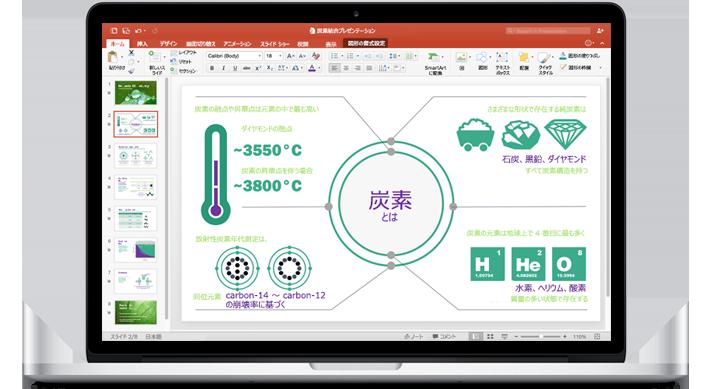 MacBook に PowerPoint for Mac のプレゼンテーションが表示されています。