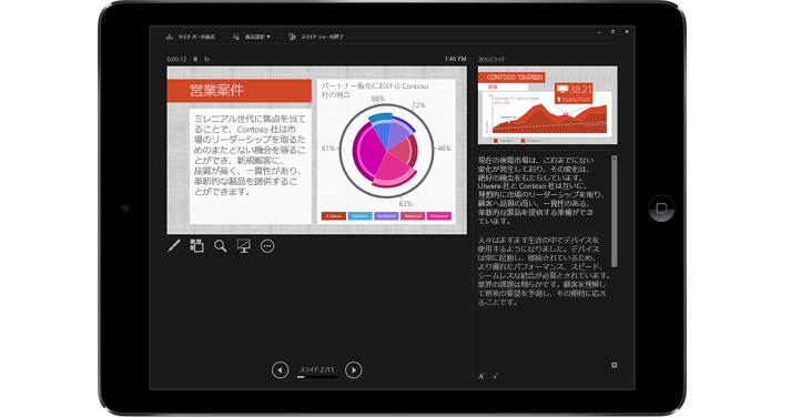 マークアップを含むプレゼンテーション モードの PowerPoint スライドを表示しているタブレット。