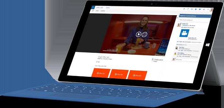 ビデオをアップロードする Office 365 ビデオのページが表示されているタブレット。