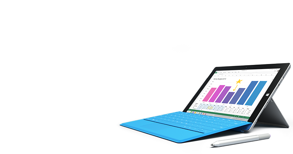 Surface tablet featuring the all new Office 2016 on the screen