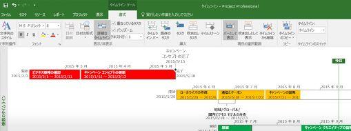 Project Professional を開いたプロジェクト ファイルのスクリーン ショット