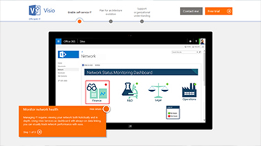 Visio TestDrive が表示されたコンピューター画面。Visio Online プラン 2 のガイド ツアーにアクセスします