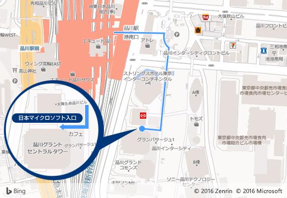 品川駅港南口からの経路マップ