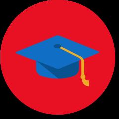 卒業帽と学校のアイコン