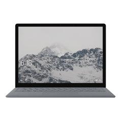 雪山のスタート画面が表示されたプラチナの Surface Laptop の正面図