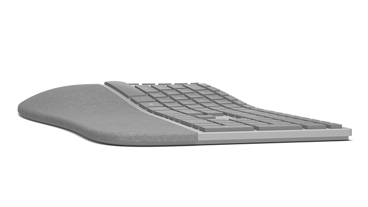 Surface エルゴノミクス キーボード (Surface Ergonomic Keyboard) を右から見た図