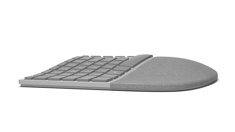 Surface エルゴノミクス キーボード (Surface Ergonomic Keyboard) を左から見た図