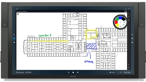 Surface Hub で表示された Drawboard 。