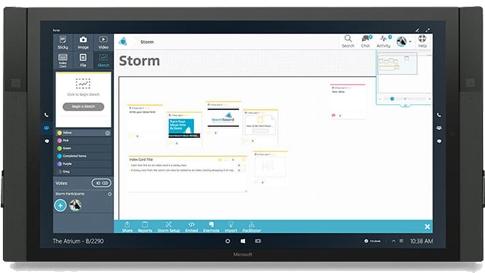 Surface Hub で表示された Stormboard 。