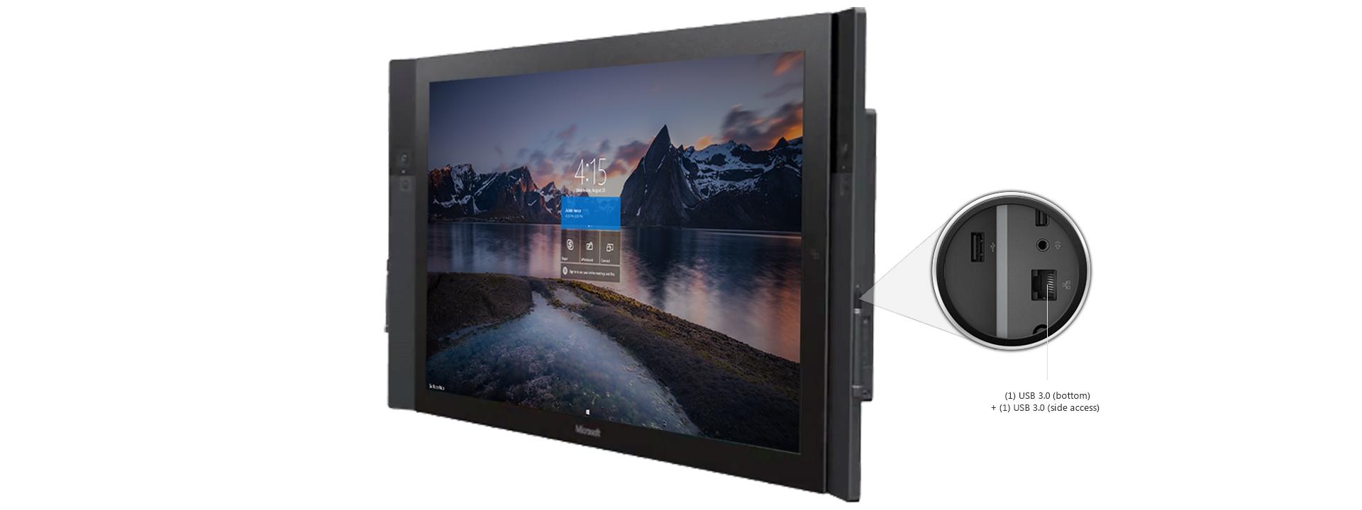 外部端子が拡大された、自然の風景のスタート画面が表示された Surface Hub の側面図。