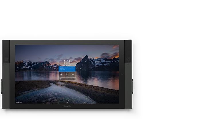 :自然の風景のスタート画面が表示された 55 インチ Surface Hub の正面図。