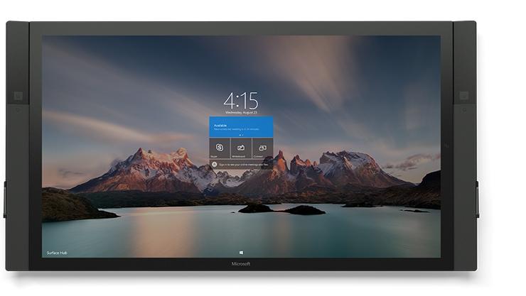 自然の風景のスタート画面が表示された 84 インチ Surface Hub の正面図。