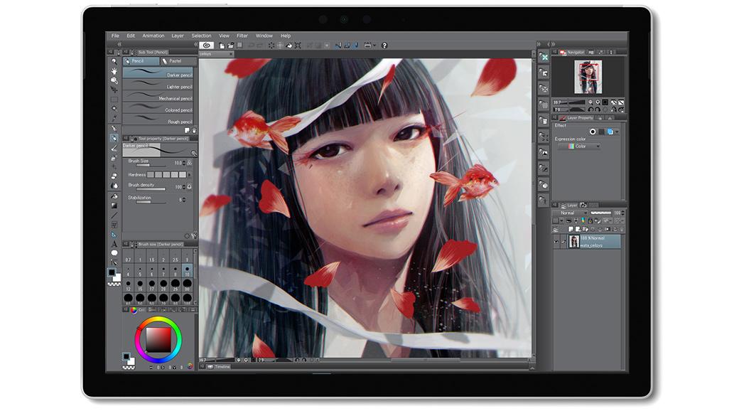 Surface 上の Clip Studio PAINT アプリ