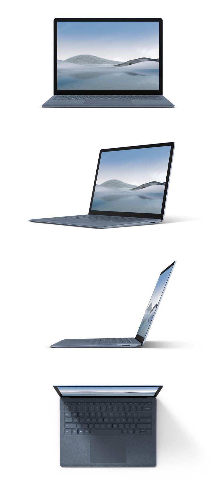 アイスブルーカラーの Alcantara 素材の Surface Laptop 4 の 13.5 インチを正面、斜め45度、横、上から見た様子