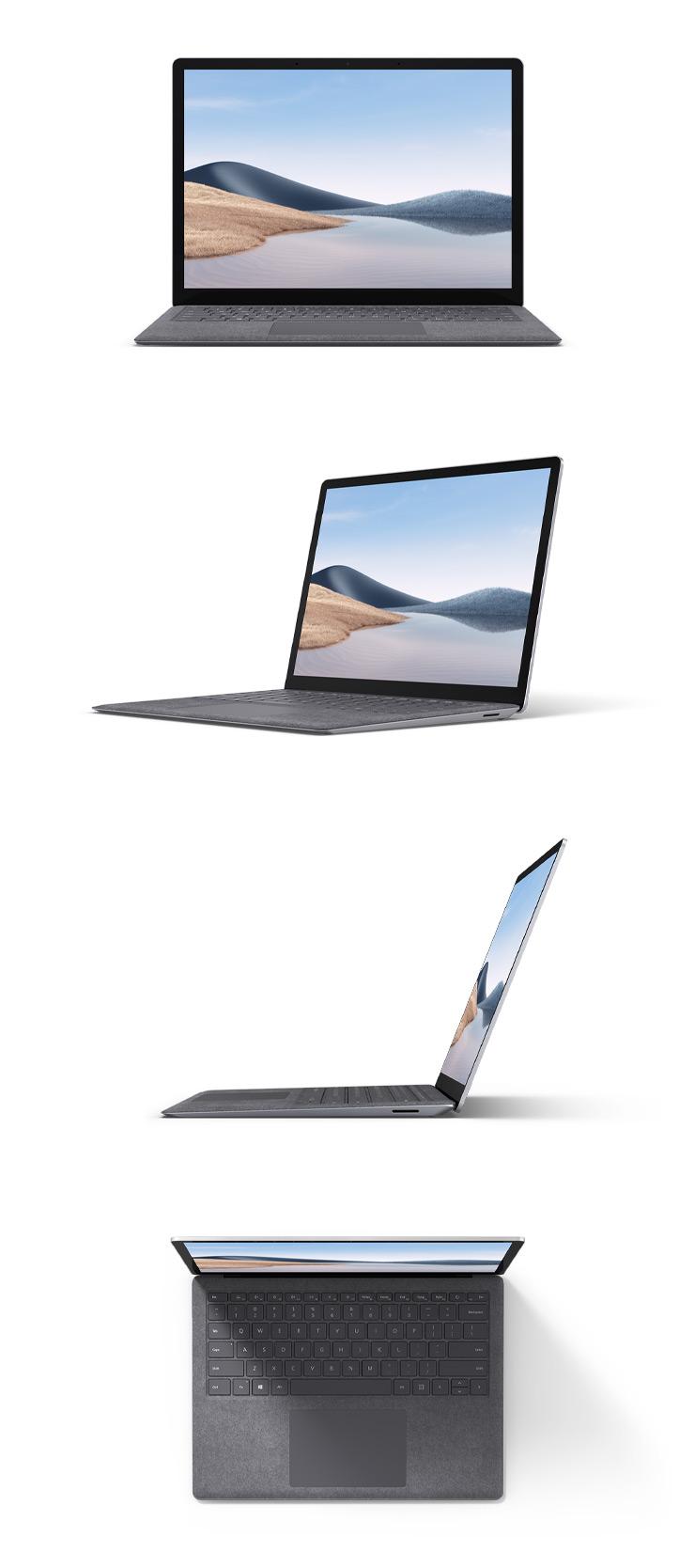プラチナカラーの Alcantara 素材の Surface Laptop 4 の 13.5 インチを正面、斜め45度、横、上から見た様子