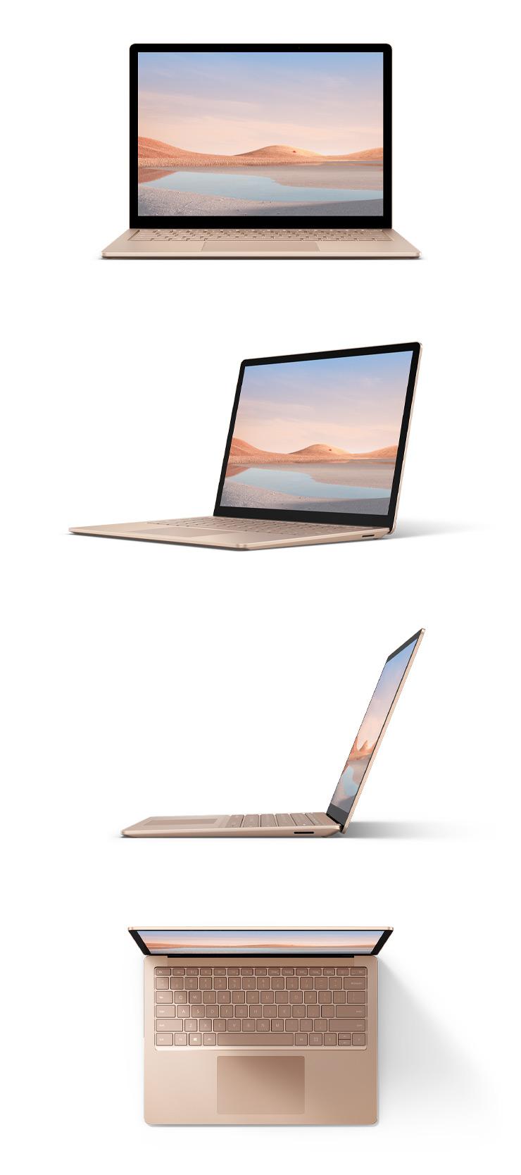 サンドストーンカラーのメタル素材の Surface Laptop 4 の 13.5 インチを正面、斜め45度、横、上から見た様子