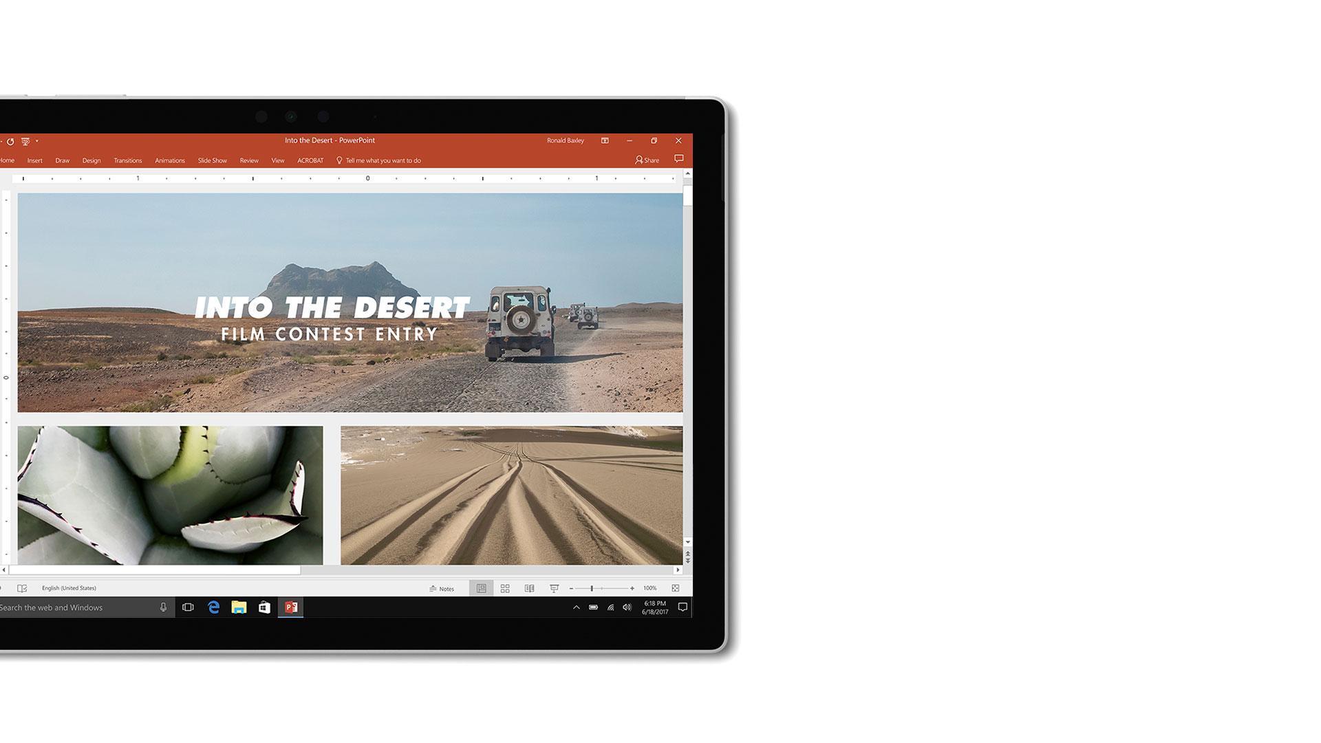 Microsoft Powerpoint のユーザー インターフェイスの画像