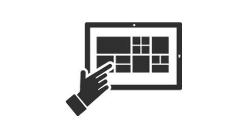 Surface デバイスの画面に触れる手