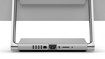 外部ポートがある Surface Studio バックパネルの詳細