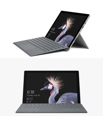 Surface Pro タイプ カバーが装着された Surface Pro (5th Gen) の画像