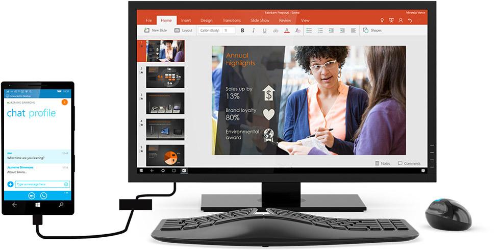 Windows PC に接続された Windows 10 スマートフォン