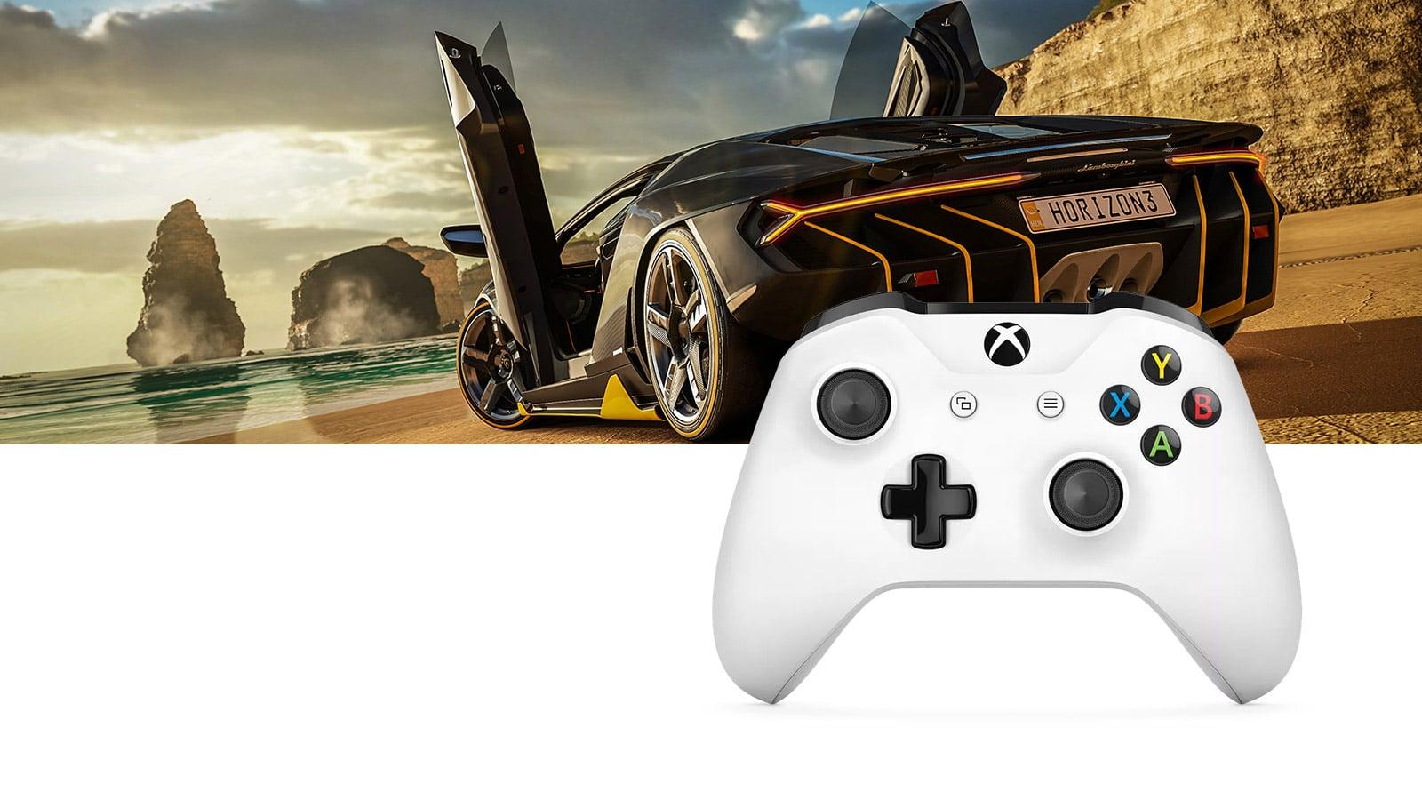 Xbox の画面に表示された Forza と白色のコントローラー