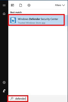 検索ボタンをクリックし (または Windows キー + S を押す)、defender と入力して検索をし、Windows Defender セキュリティ センターを開きます