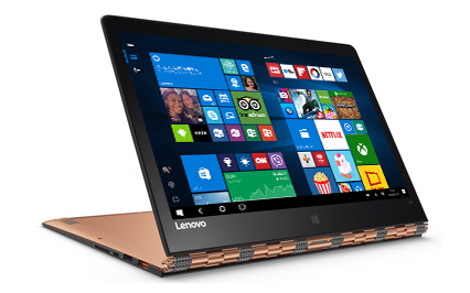 Windows 10 スタート画面を表示した Lenovo Yoga 900