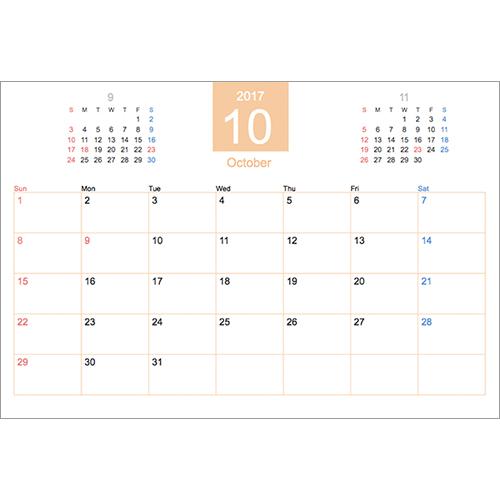 2018 年度カレンダー(2018 年 10 月始まり・ビジネス・ハガキサイズ)