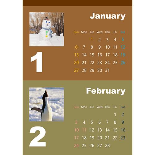 2019 年度カレンダー(ナチュラル・A4 サイズ)