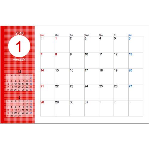 2018 年度卓上カレンダー(チェック・ハガキサイズ)