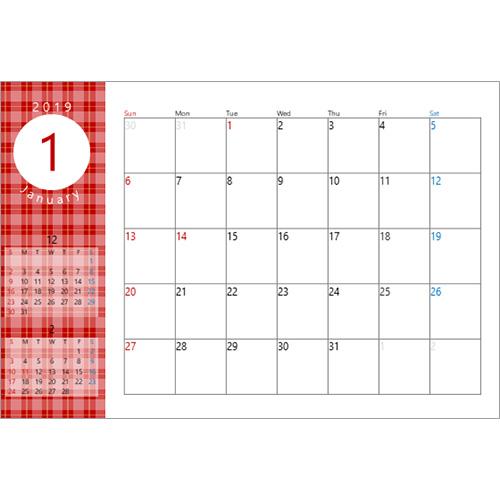 2019 年度卓上カレンダー(チェック・ハガキサイズ)