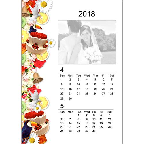 2018 年度カレンダー(4 月始まり・ウエディング・ポップ・A4 サイズ)