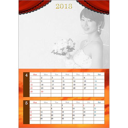 2018 年度カレンダー(4 月始まり・ウエディング・スター風・A4 サイズ)