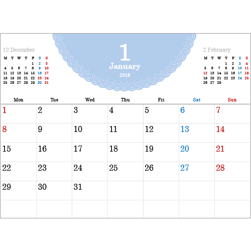 2018 年度カレンダー(A4 サイズ・ヨコ・1 ヵ月・シンプル レース)