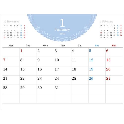 2019 年度カレンダー(A4 サイズ・ヨコ・1 ヵ月・シンプル レース)