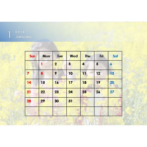 2018 年度カレンダー(B6 サイズ・ヨコ・1 ヵ月)