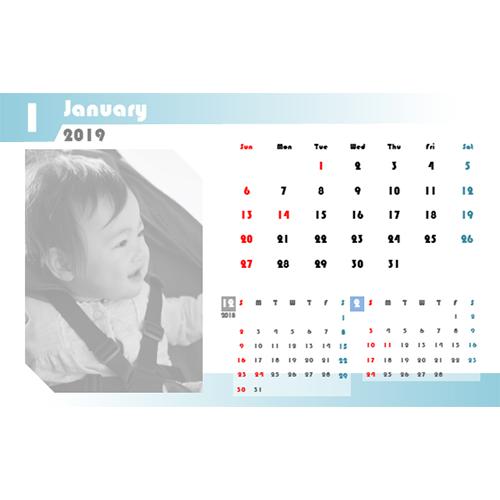 2019 年度カレンダー(ハガキサイズ・ヨコ・1 ヵ月)