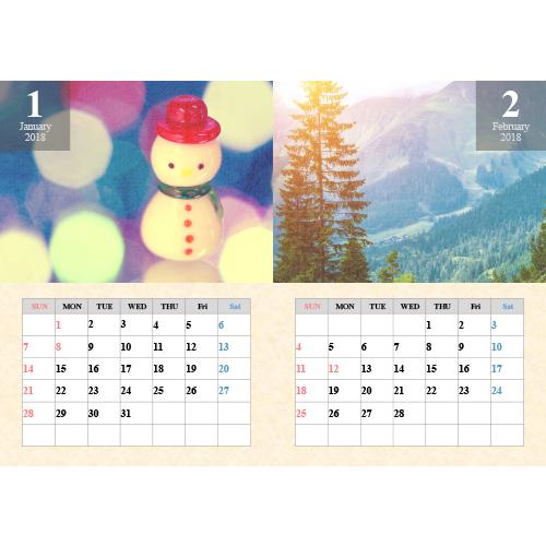 2018 年度カレンダー(A4 サイズ・ヨコ・2ヵ月)